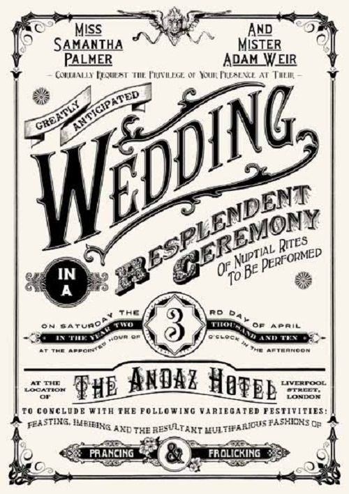 retro vintage wedding invitations card