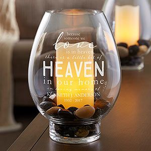 Buy glass hurricane candle holders engraved with any 2 lines of text along a beautiful verse. Great memorial gift! Free personalization & fast shipping.