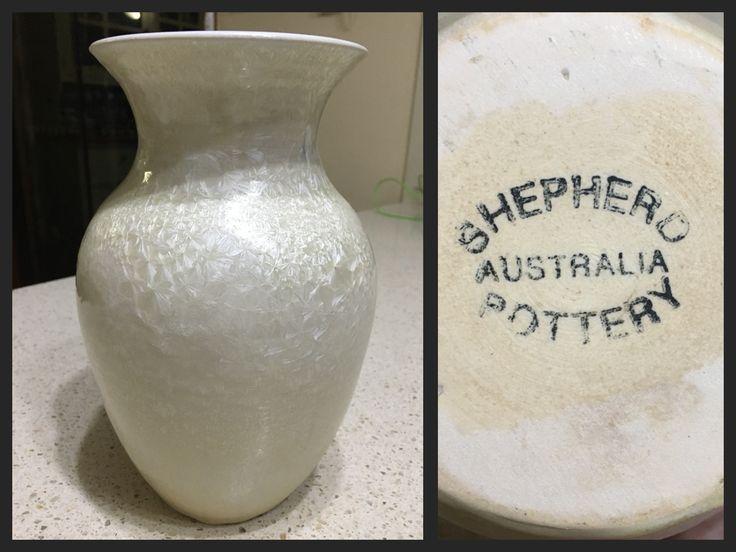 Shepherd Pottery Glenbrook Australia White Crystalline Glaze Vase