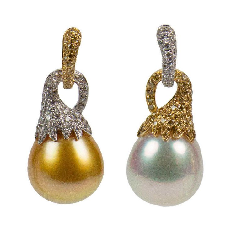 South Sea Pearl Diamond Gold Earrings - these are TOO awesome!  re-post?  maybe.  everyone needs to see them again.  :)