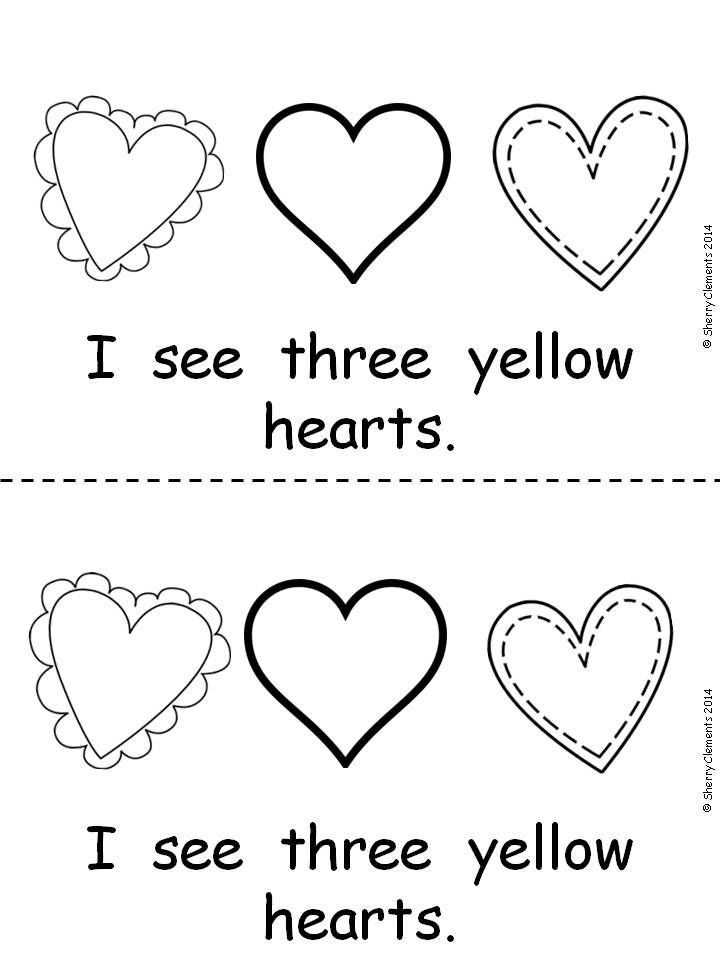 Emergent Reader: Hearts (I, see, color and number words) $
