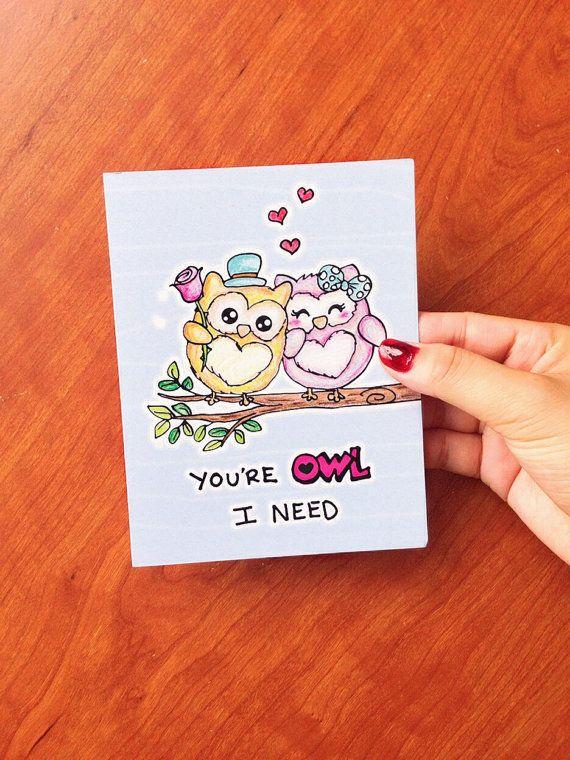 Grappige Valentijn kaart grappig, grappige valentines kaart vriendje, Valentijnsdag kaart vrouw, verjaardag kaart, Funny verjaardag kaart, uil-kaart