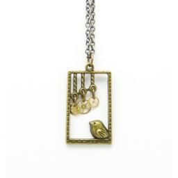 Little Bird Necklace : Handmade in Canada, a tiny little bird is framed by a box with three antique clock gears dangling above it.