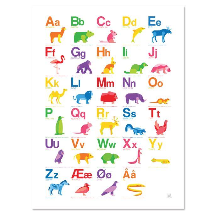 Fargerik alfabetplakat med dyr 50 x 70