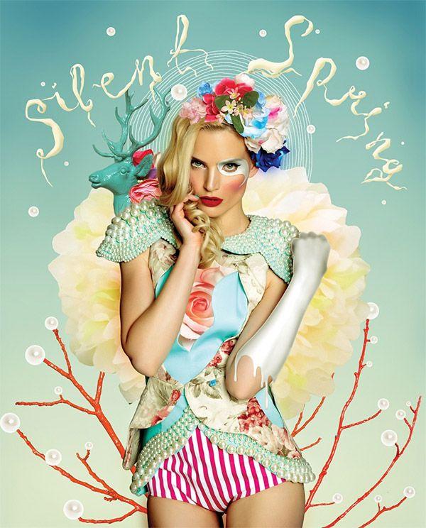 colorful fashion model composition