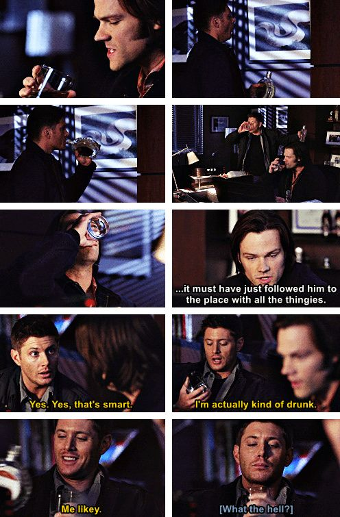 [gifset] Drunk Winchesters :) 7x18 Party On, Garth #SPN #Dean #Sam — I will never not repin drunk Winchesters.