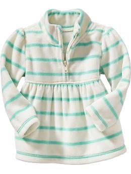 Striped Performance Fleece 1/4-Zip Tops for Baby   Old Navy