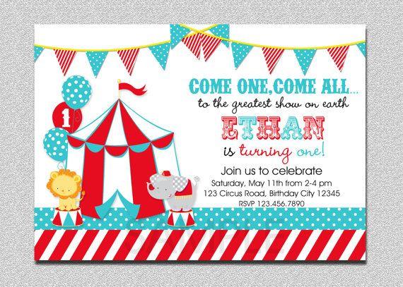 Carnival Circus Birthday Invitation Circus Carnival Birthday Party Invitation