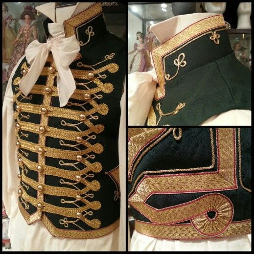1800's style Hussar vest and chemise with cravat and grafton collar. Made by Angela Mombers
