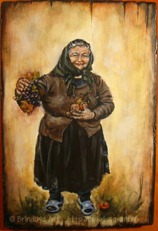 Village woman, acrylic painting on wood - 30 x 20 cm (11.8 x 7.8 inches). Inspired by the dearest old lady we met in a mountain hamlet: kind, gentle, generous… Femeie de la sat, tablou pictat pe lemn, în culori acrilice – 30 x 20 cm. Inspirată de cea mai scumpă bătrână, întâlnită într-un cătun de munte: cumsecade, blândă, generoasă… #woodpainting #picturapelemn #portrait #portret #village #cottage #countrylife #viatalasat #viatalatara #fruit #generosity #acrylics #acrilice #handmade #art…