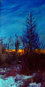 "Each year buy a painting from a lady artist!  In 20 years you have a great collection of contemporary women's art! ""Winter Twilight"" 2.5x3.5 150$"