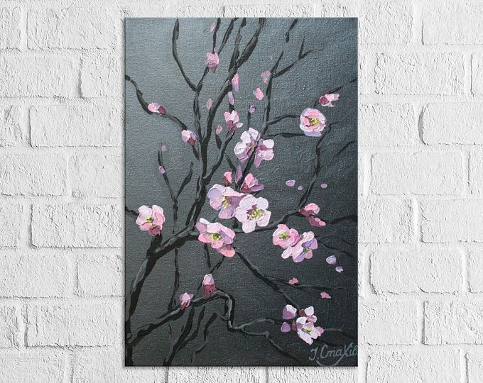 Cherry Blossom Tree Painting Palette Knife Textured Flower Art Etsy Cherry Blossom Painting Cherry Blossom Painting Acrylic Cherry Blossom Art