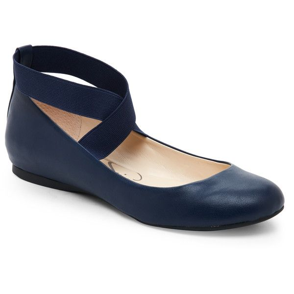 Jessica Simpson Navy Baby Mandayss Elastic Strap Flats ($40) ❤ liked on Polyvore featuring shoes, flats, blue, navy shoes, criss cross flats, round toe flat shoes, flat pumps and round toe flats