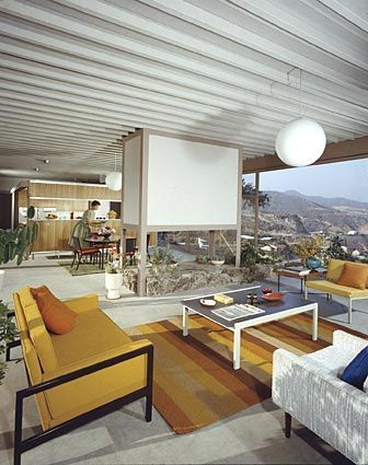 Interior shot of the Stahl House (Case Study House no.22), designed by Pierre Koenig.   Los Angeles, 1960.