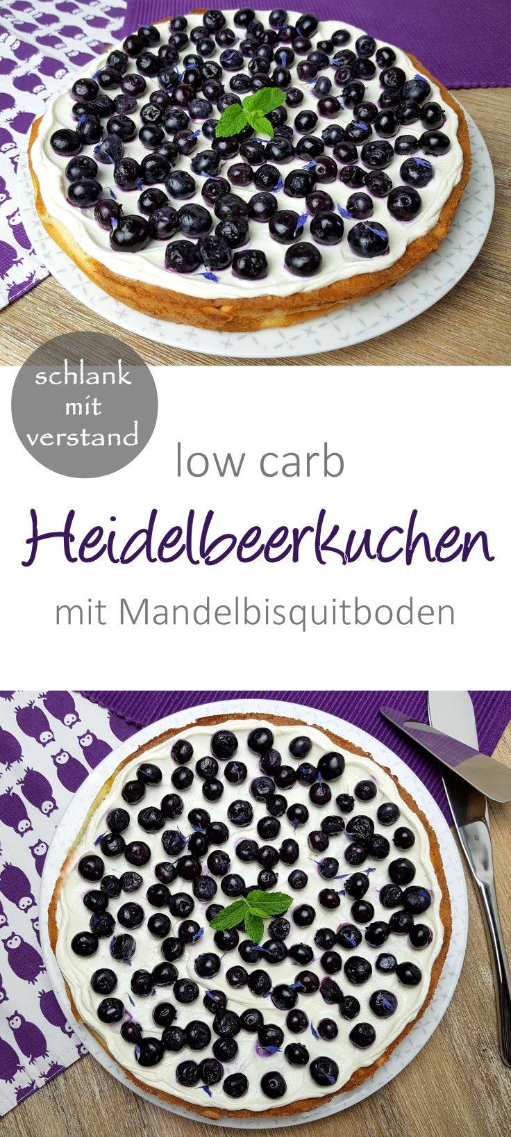 Low Carb Heidelbeerkuchen mit Mandelbisquitboden