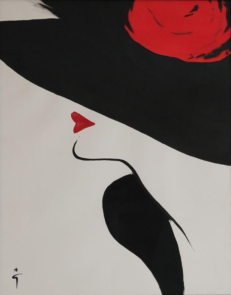 """""""ROUGE BAISER"""" Maquette originale gouache sur papier encadrée René GRUAU 65x83cm"""