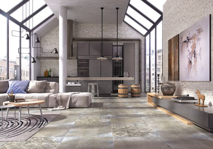 Glazed porcelain tiles Barcelo, 60x60 cm. Tiles looking like old, used loft concrete floor, decorated with touch of oriental motif on Adorno decors. Great effect!