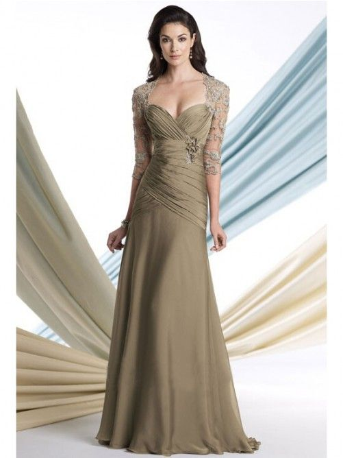 A-line/Princess Halv Ärm Hjärtformad Floor-length Mother of the Bride Dresses