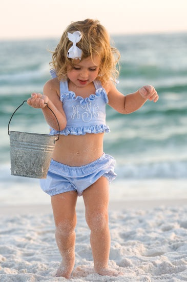 too precious--love the monogrammed bathing suit!