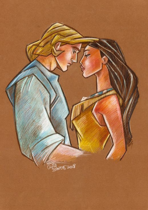 John and Pocahontas with colored pencils.