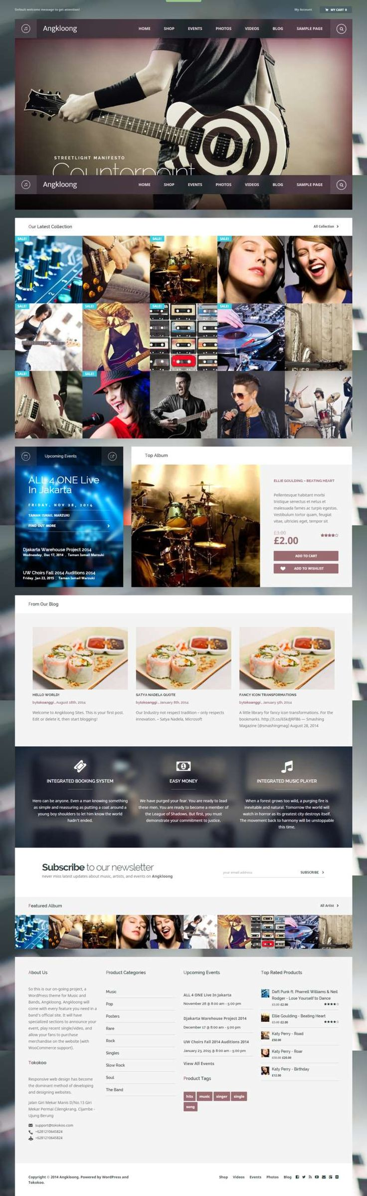 Angkloong WordPress music theme is the best Music & Events WooCommerce theme for musician and band official website with fresh design, extensive features and the ability to be customized to give your website a fascinating look.We build high quality themes with beautiful design, clean code, and up-to-date features.Your business certainly need a blog, and we've provided various post formats to help you communicate with your customers through blog.