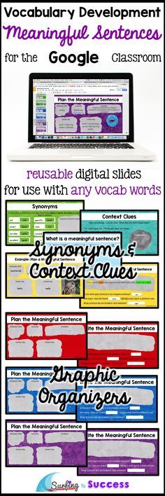 Digital graphic organizers take students through the process of writing meaningful sentence. Students learn to use context clues and synonyms to write complete correct sentences that demonstrate the meaning of a word. 12 editable slides can be used repeatedly for vocabulary words for any subject.  In order to write their own sentence demonstrating the meaning of a word, students will have to have a deep understanding of the vocabulary word. This is deeper level thinking than matching words…