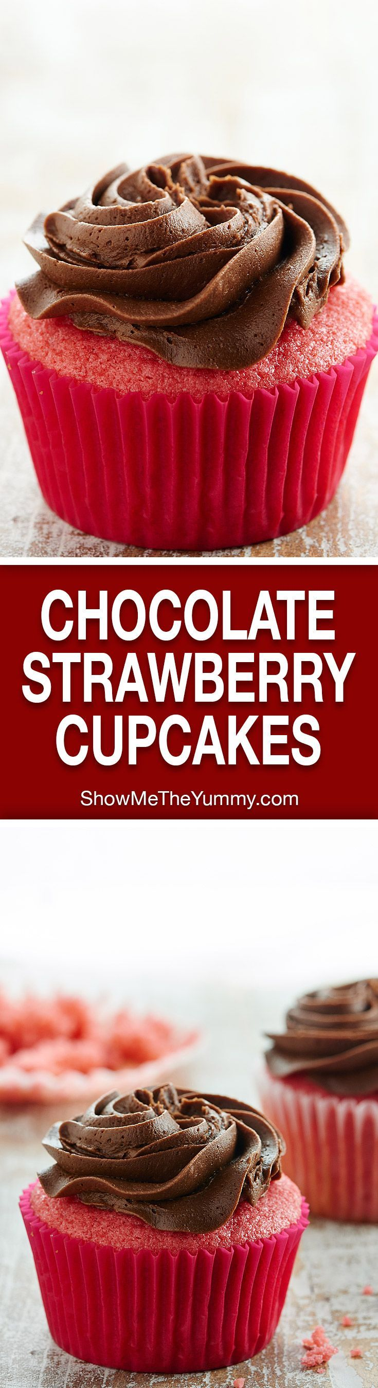 This Chocolate Strawberry Cupcakes Recipe is a twist on chocolate covered strawberries. A moist, strawberry cupcake is smothered in the creamiest chocolate buttercream! http://showmetheyummy.com #strawberrycupcake #chocolatebuttercream