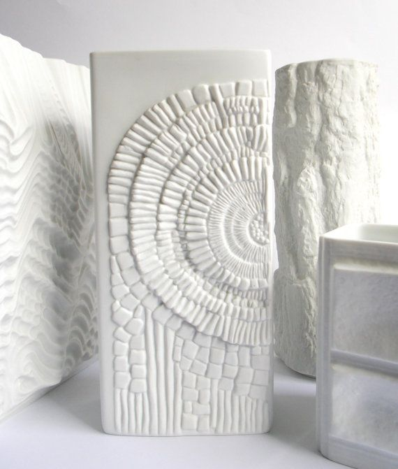 Kaiser Vase White West Germany Op Art Fossil Relief Matte Porcelain Mid Century Modern 1960s Bisque on Etsy, £136.21