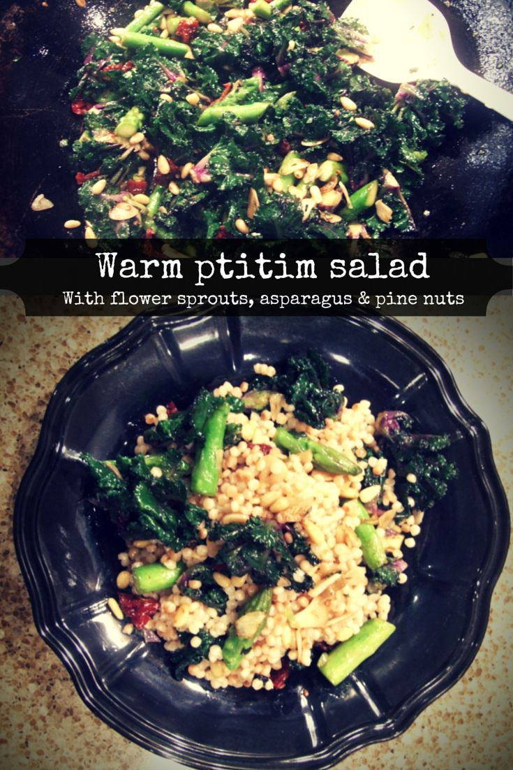 Warm ptitim salad with flower sprouts, asparagus and pine nuts