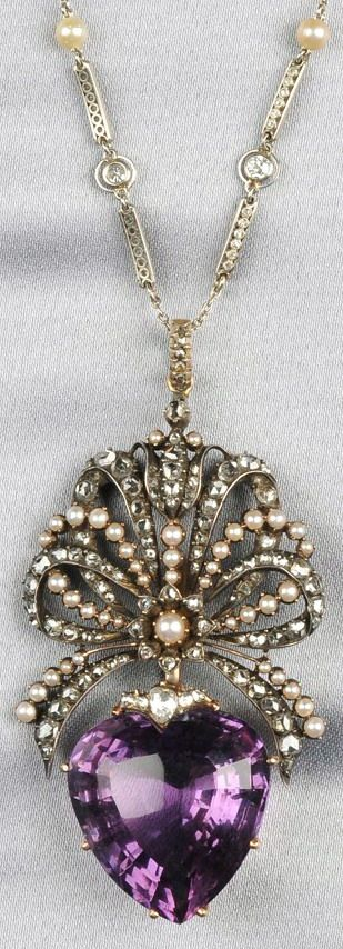 Antique Amethyst and Rose-cut Diamond Pendant, the large heart-shape amethyst suspended from a rose-cut diamond and split pearl bow, silver and gold mount, lg. 2 1/2 in., suspended from a platinum, pearl, and diamond chain, lg. 15 in.