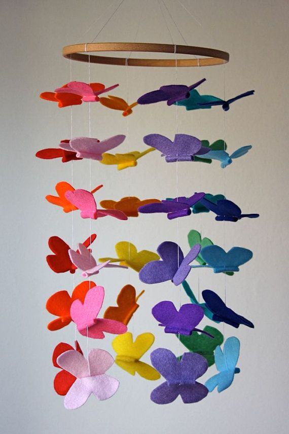 ! felt butterfly mobile. Could do this all one or two colors or could do with something other than felt
