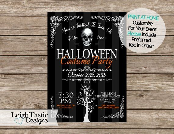 Halloween Printable Invitation Halloween Party Costume Party Print At Home Birthday Party Night Ou Printable Invitations Halloween Invitations Invitations