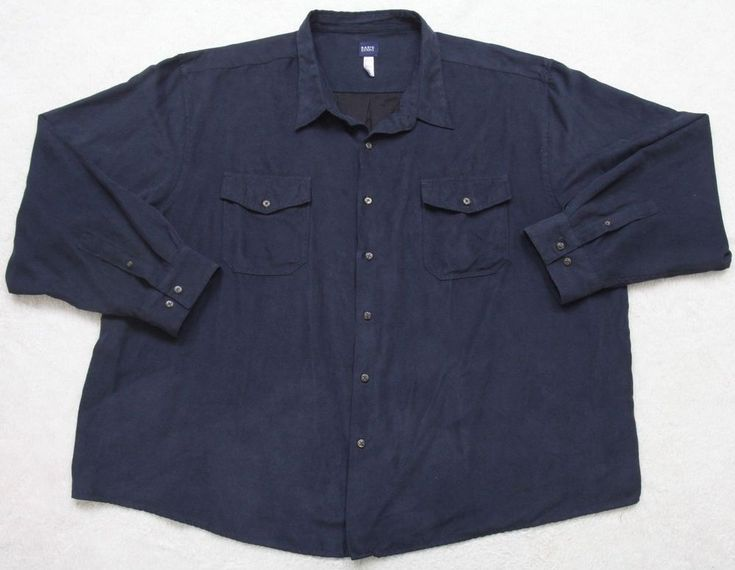 Basic Editions Dress Shirt 4XL Polyester Long Sleeve Navy Blue XXXXL Two Pocket #BasicEditions #ButtonFront