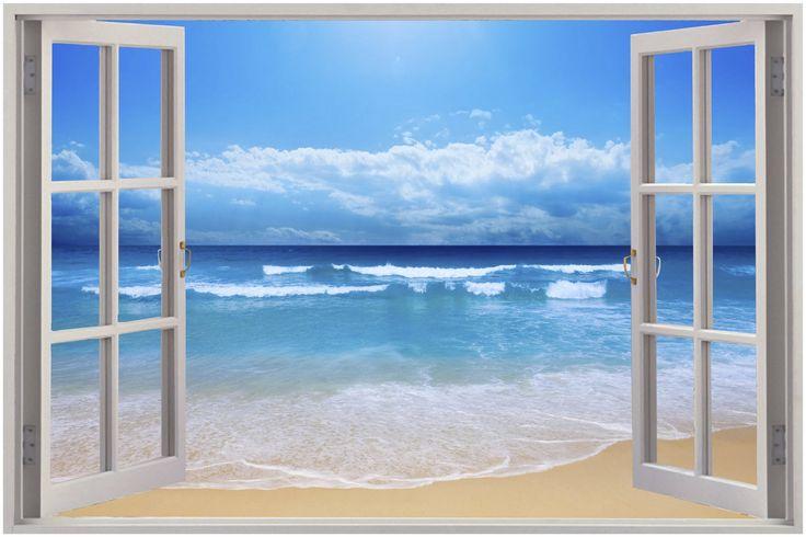 Huge-3D-Window-Exotic-Beach-View-Wall-Stickers-Film-Mural-Art-Decal-Wallpaper