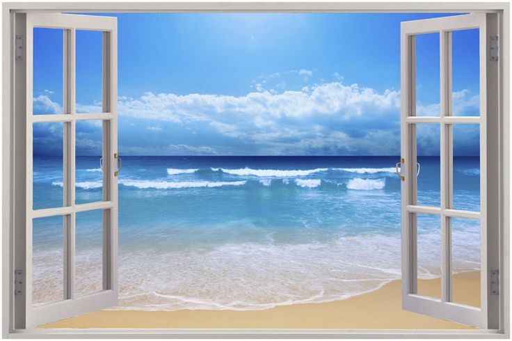 Details about huge 3d window view exotic beach wall for Mural film