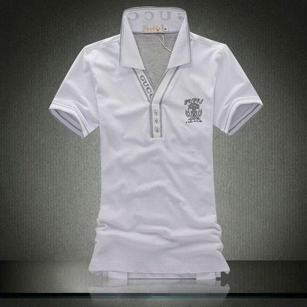 cheap polo ralph lauren shirts Gucci Logo Collar V-Neck Short Sleeve Men's Polo Shirt White http://www.poloshirtoutlet.us/