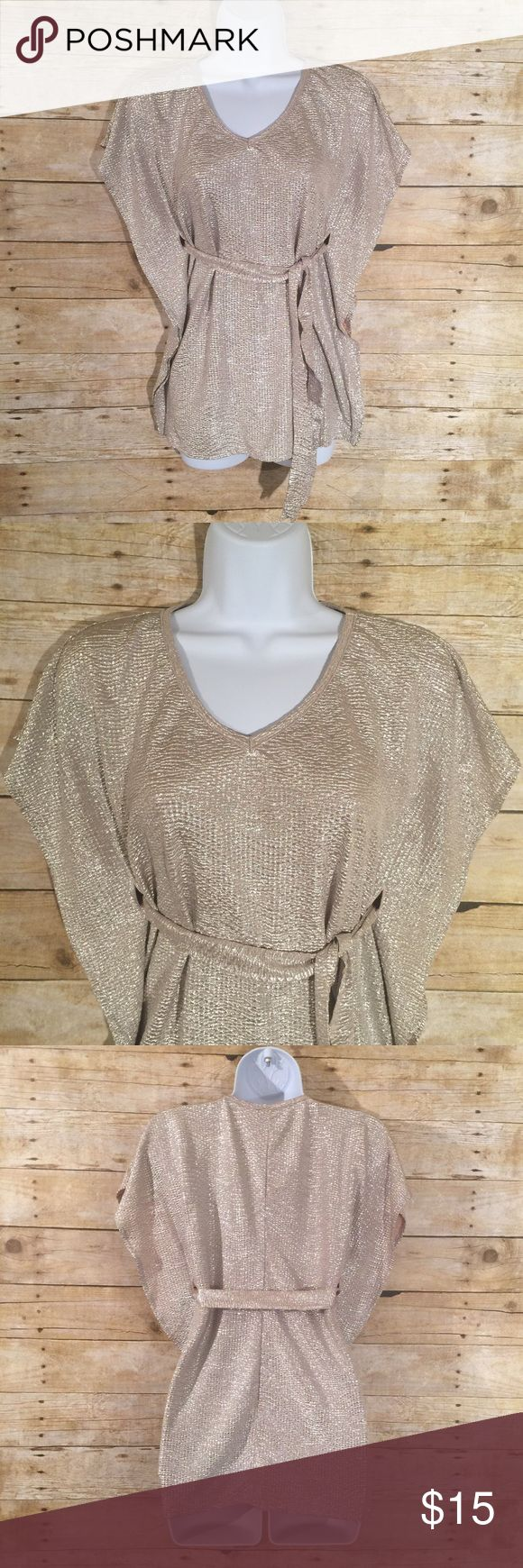 Gold Metallic Shimmer Dolman Batwing Blouse Blouse is in gently used condition. No stains or flaws. SIZE X-Small Loved by Heidi Klum Tops Blouses