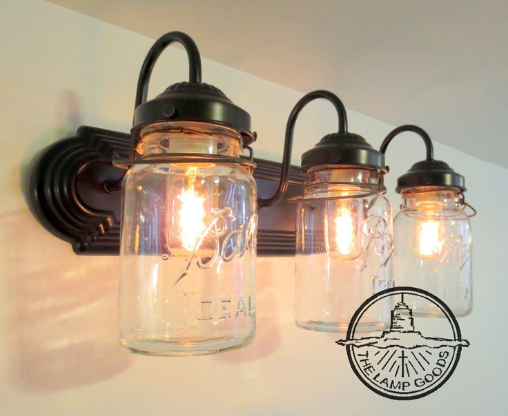 Wall Mounted Fruit Jar Lights : MASON JAR Wall Sconce Vintage Quart Trio Light Vanity Bathroom by LampGoods on Etsy https://www ...