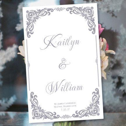 Catholic Church Wedding Program Vienna Gray Printable Ceremony Make Your Own Programs DIY U Print