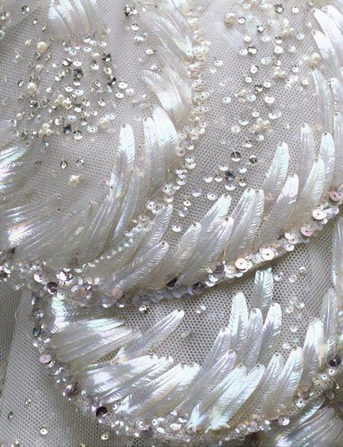 "Detail of Dior's ""Venus"" dress beading. The feathered sequins! I never would have thought."