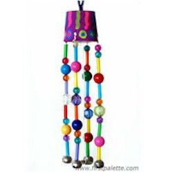 Beaded Wind Chimes Craft for kids using, paint, beads, a pipe cleaner, a paper cup, a washer and some bells. CUTE!