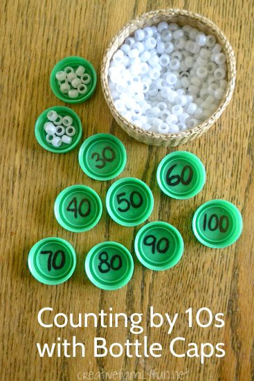 Practice skip counting by 10 using bottle caps and beads. It's a fun and easy way to help your child learn.