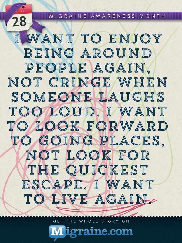 I want to enjoy being around people again, not cringe when someone laughs too loud...  So true!
