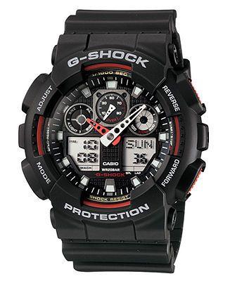 G-Shock Watch, Men's Analog Digital Black Resin Strap GA100-1A4 - Watches - Jewelry & Watches - Macy's