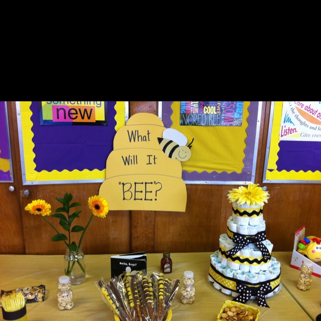 I Like The General Concept Of This Gender Neutral Bee Baby Shower. Would Def  Change It A Little