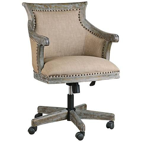 Uttermost Kimalina Silver Leaf Linen Swivel Office Chair - #6K335 | Lamps Plus