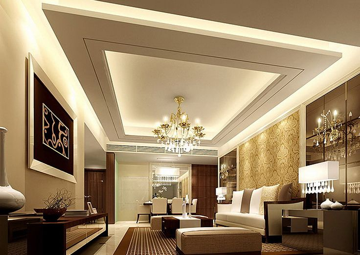 Suspended Ceiling Living Room Design With