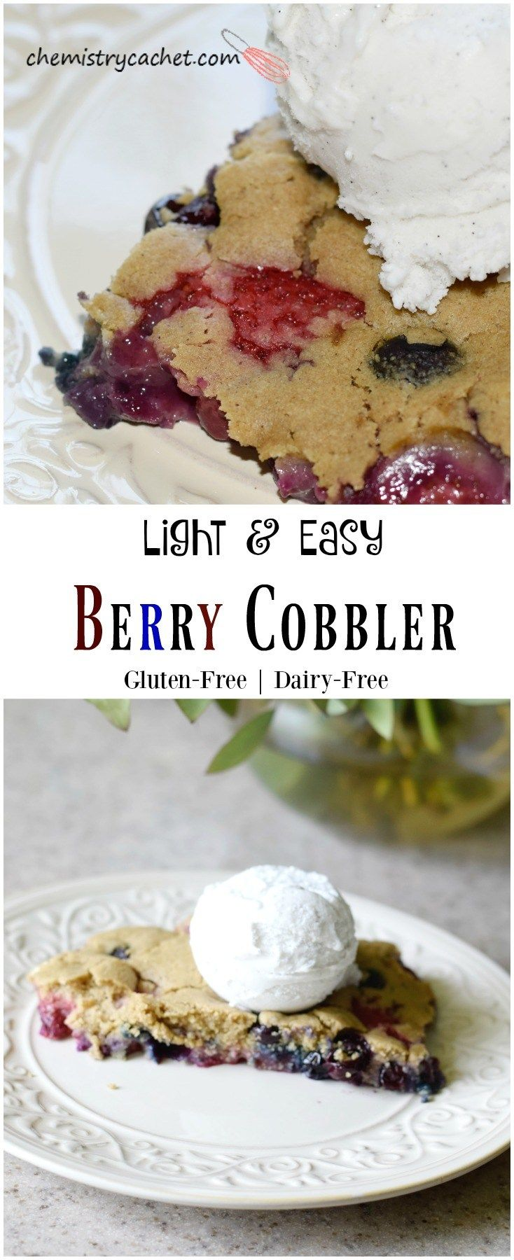 Easy Dairy-Free Berry Cobbler Recipe. This is so light, refreshing, and healthy! Dairy-free cobbler, gluten-free cobbler, and Egg-free cobbler recipe! on chemistrycachet.com