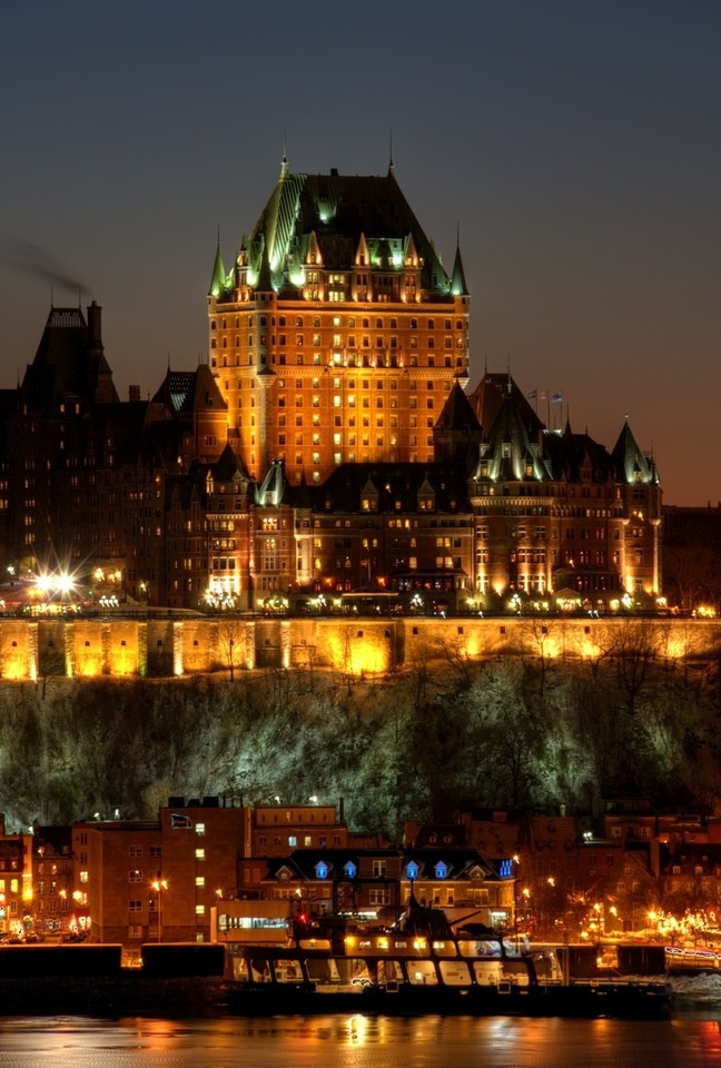 Quebec, Chateau Frontenac...I've actually stayed in the very top room (the maids'  quarters) of this fabulous hotel!