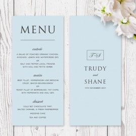 Modern Pale Blue Wedding Menu or Corporate Dinner Menu Printed On Luxe Double Sided Cardstock | Peach Perfect Australia